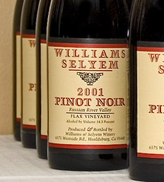 Bottles of Williams Selyem Pinot Noir.